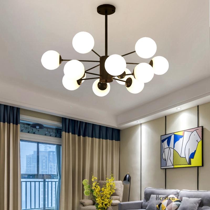 Horsten Nordic Creative Magic Bean Pendant Lights 6812 Heads Glass Ball Pendant Lamp For Living Dining Room Cafe Restaurant E27 (7)