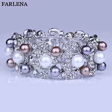 FARLENA Wedding Jewelry Silver Plated Carved Flower Cuff Bangle With Rhinestones Exquisite Crystal Bracelets & Bangles for Women(China)