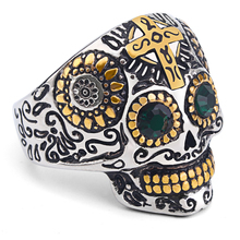 Mimeng Green Eye Skull with Cross Titanium Ring Punk Style Ring Exaggerate Men Jewelry(China)