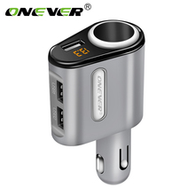 Onever Car Cigarette Lighter Socket Splitter 3 USB 12-24V Car Quick Charge Power Adapter Voltage Monitor Max 5V 3.1A Car Charger