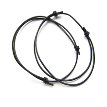 2pcs Simple Style Black Leather Cord Lucky Bracelet Anklet Adjustable For Men Women Bracelets Jewelry(China)