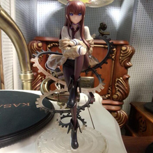 Steins Gate Anime action figure Makise Kurisu collection painted model figure toy gifts sitting posture 21cm Decoration Y7013