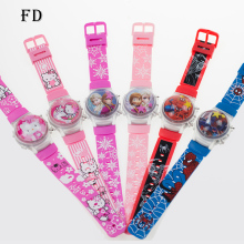 FD 6pcs Hot Sale Hello kitty Cartoon Sports LED Children Watch Girls Boys Princess Elsa Rubber Digital Watch For Dropshipping