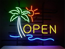 "NEON SIGN For OPEN SIGN Signboard REAL GLASS BEER BAR PUB display Restaurant christmas Light Signs 17*14""(China)"
