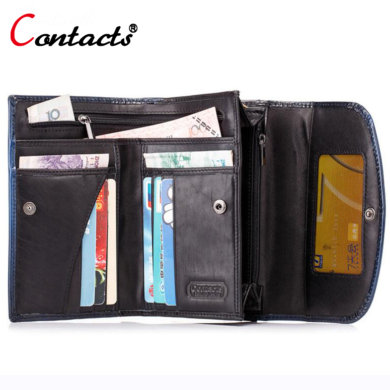 CONTACTS New Arrival long Men Wallets Purse Large Capacity Phone Casual Clutch Vintage Male genuine leather wallet Card Holder<br>