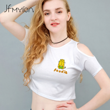 2017 High Quality O Neck Summer Women White Slim Sexy T shirt Off Shoulder Crop Tiger Cub Foodie Letter Print Tshirt Preppy Top(China)