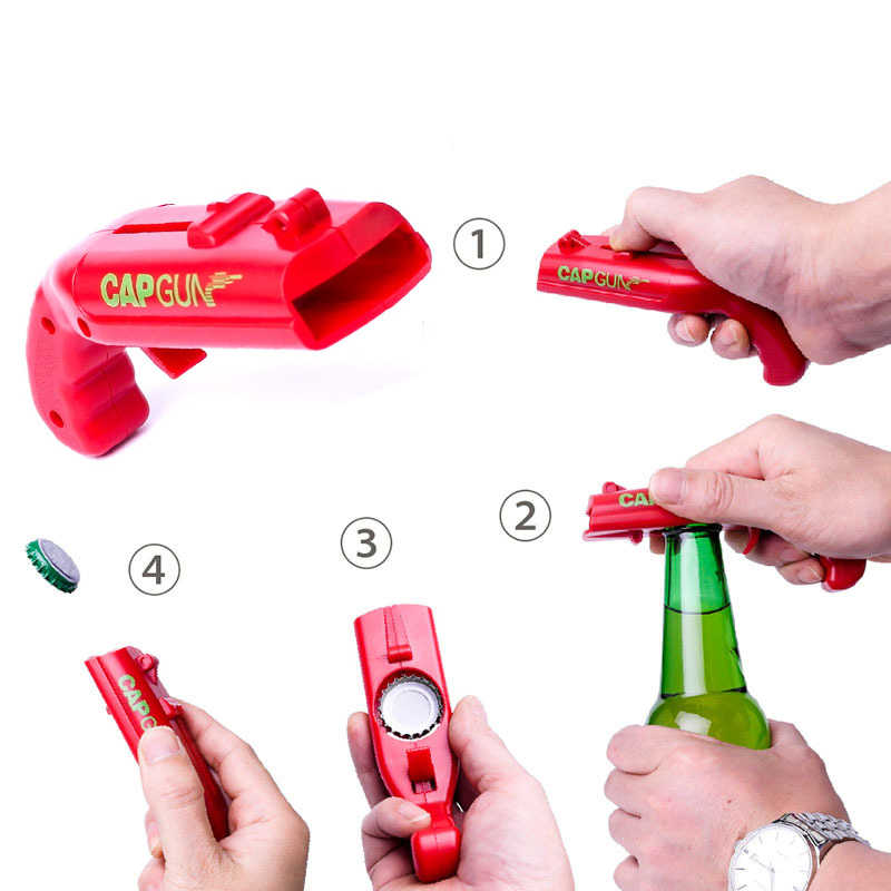 1PCS Cap Gun Bottle Opener Beer Bottle Cap Launcher Kitchen Tools Shoot Cap 5 Meter Home Bar Party Game Gadgets Cool