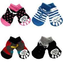 Indoor Pet Dog Soft Cotton Anti-slip Knit Weave Warm Sock Skid Bottom Dog Shoes AA