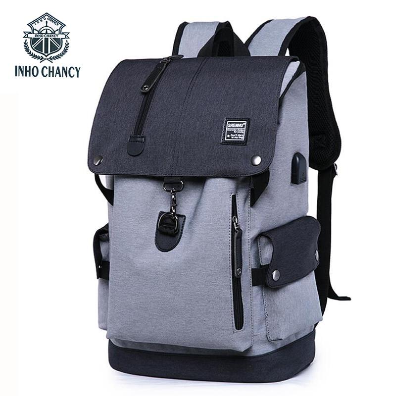 INHO CHANCY Men Multifunctional USB Charging  Backpack Large Capacity Laptop Bag Teenagers School Bag Waterproof Travel Backpack<br>