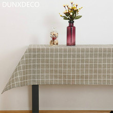 DUNXDECO 1PC Industry Grey White Check Linen Cotton Fresh Table Cloth Home Store Party Table Decoration Photo Prop Ground Fabric