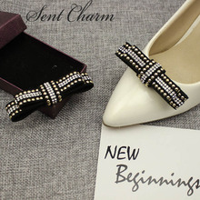 1 Pair Fashion Shoe Decoration With Crystal For Women Bowknot Accessory For High Heels Loafers(China)