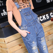 2017 Autumn New Fashion Jeans Women Skinny Denim Jumpsuits Straight Loose Casual Holes Overalls Female Rompers Jeans Trousers