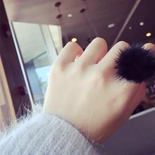 H:HYDE Mink Ring Fashion Boho Genuine Soft Leather fur ball Party Rings for Women Gift(China)