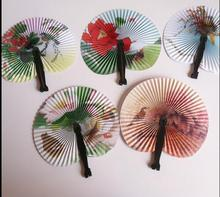Watercolor painting Paper folding fan Gift small household products wedding gifts