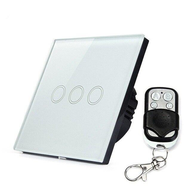 EU/UK standard remote control switch 3gang 1 way, white crystal glass switch panel, wireless smart wall switch rf433mhz<br>