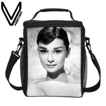 VEEVANV Brand 2017 Audrey Hepburn Lunch Bags 3D PU Prints Insulated Lunch Bag Cooler Picnic Food Bags for Women Picnic Lunch Bag