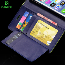 FLOVEME Luxury Hit Color Flip Leather Wallet Phone Cases For iPhone 6 6s 7 7 Plus Case Multe Card Slots Stand Cover For iPhone 8(China)