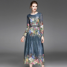 Female Novelty Dresses Topshop 2017 Early Autumn Flowers Print Full Sleeve Lace Fashion Mid-Calf Girls Princess Dark Blue Dress