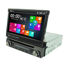 "Universal 7"" 1Din auto retractable panel Car DVD GPS navi system with DVBT 3G WiFi TV DVR RDS AM FM SWC 4X50W"