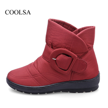 COOLSA Women Snow Boots Winter New Arrival Women Flat Low Tube Boots with Plush Warm Cotton Shoes Waterproof Snow Boots Hot Sale(China)