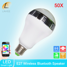 50x Smart LED Music Bulb E27 Base Bluetooth Speaker Wireless 15m AC100-240V RGB Color with Wifi APP Control free DHL