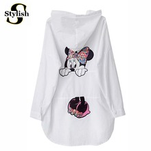 KAWAII Cartoon Blouse Shirt Women White Tops 2017 New Summer Female Hooded Tops Mouse Appliques Sunscreen Clothing Ladies Kimono