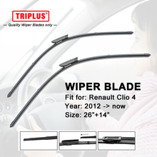 "Wiper Blade for Renault Clio 4 (2012-now) 1 set 26""+14"",Flat Aero Windscreen Wiper,Boneless Windshield Soft Wiper Blade"