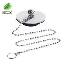 EECOO Chrome Kitchen Sink Bathroom Bathtub Drain Cover Stopper Solid Metal Waste Plug With Chain(China)