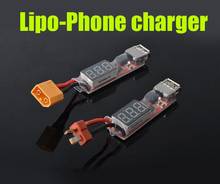 2S-6S Lipo battery to Mobile phone charger with display XT60/T plug to USB port charging cable lipo battery discharger(China)