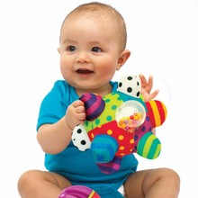 Baby Fun Ball Cute Plush Soft Cloth Hand Rattles Training Grasping Ability Toy For Baby Ring Toys Education For Baby Toys music(China)
