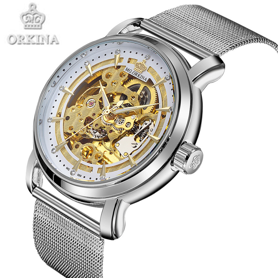 New Top Luxury Watch Men Brand Mens Watches Stainless Steel Mesh Band Automatic Mechanical Clock Fashion Casual Skeleton Watch <br>