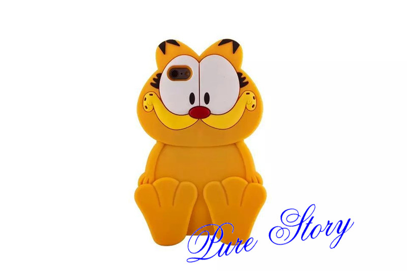 Fashion 3D Cute Silicone Rubber Cartoon Garfield Cat Phone Case For ...