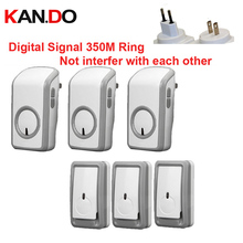 Euro/US plug bell kits w/ 3 emitters+3 receiver wireless doorbell Waterproof 380 Meter door chime door ring digital signal ring
