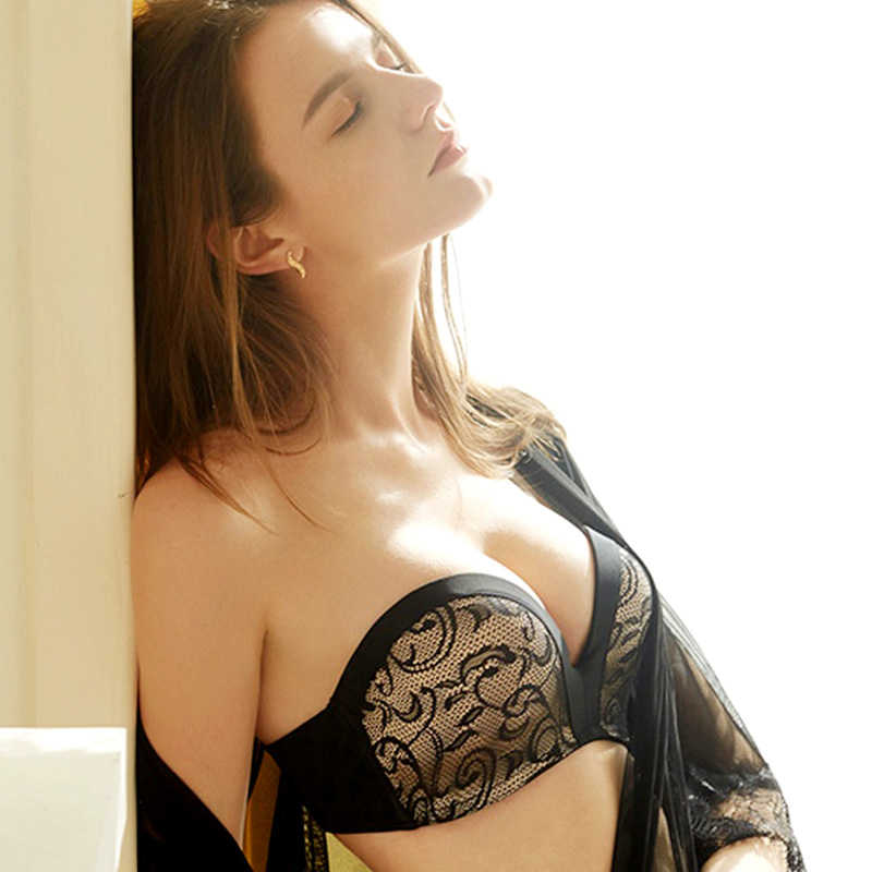 0298fe11bf05 Sexy Half Cup Push Up Lace Strapless Lingerie Seamless Invisible Female Underwear  Bra For Wedding Dress