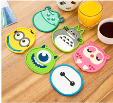 1 Pcs Silicone Dining Table Placemat Coaster Kitchen Accessories Mat Cup Bar Mug Cartoon Animal Owl Totoro Minions Drink Pads