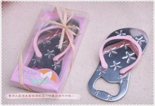 Flip flop wine bottle opener with starfish 250PCS/LOT wedding favor bridal shower guest gift (Pink Color)(China)