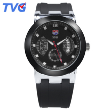 TVG Brand Fashion Male watches Ultra-Thin Quartz Watch Waterproof Black Silicone Strap Casual Men Wristwatches reloj skmei