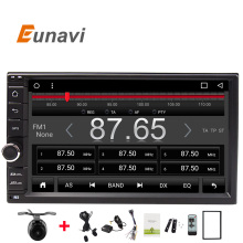 Eunavi 1024X600 7 INCH Universal 2 din Car DVD Radio Player GPS Navigation Android 6.0 Quad Core 16G Flash FREE MAP