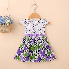 2018 summer newborn baby girl clothes brand cotton butterfly dresses for infant baby clothes sports princess party dresses dress(China)