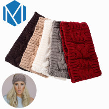 M MISM Girls Popular Solid Headband Perfect Quality Knitted Turban Hair Accessories for Women Stretch Crochet Head Wrap Hairband