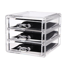 3 Drawers Acrylic Makeup Organizer Lipstick Holder Nail Polish Clear Plastic Cosmetic Storage Box Jewelry Case
