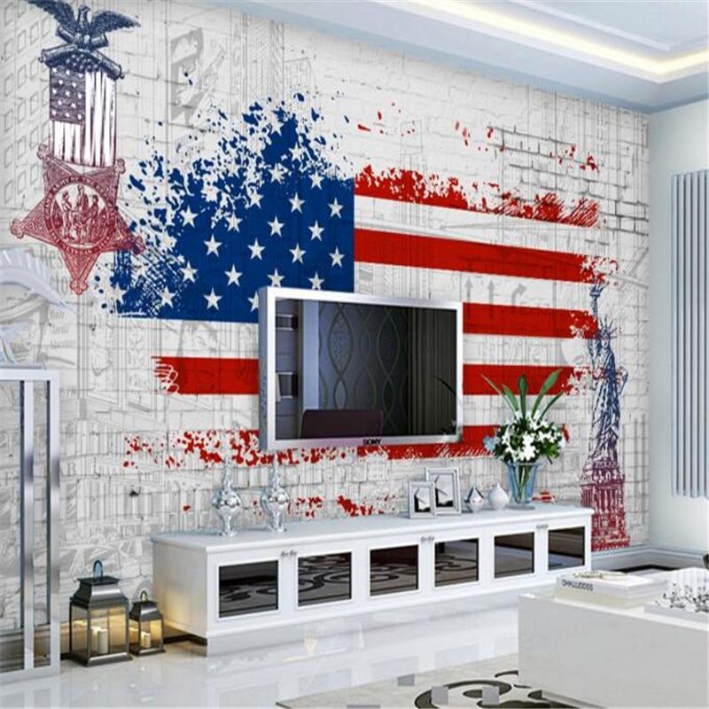 papel de parede Retro American Flag Graffiti Background Wall Fresco Living Room Bedroom Wallpaper Children Bedroom 3d Wallpaper<br><br>Aliexpress