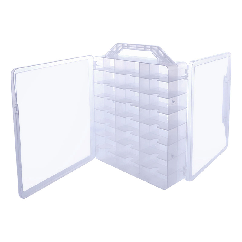 1 Pc Plastic Clear Nail Polish UV Gel Organizer Holder 48 Bottles Adjustable Dividers Space Saver Portable Box<br>