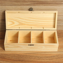 Vintage Multifunctional 4 Compartments Wooden Storage Box Tea Organizer Bag Box Jewelry Accessories Storage Container