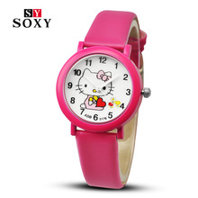 New arrived cartoon quartz watch hello kitty fashion wristwatch for kid children cute elegant relogio feminino masculino clock(China)