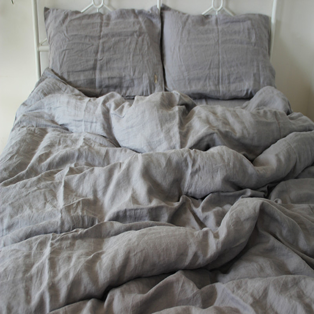 4pcs Washed Gray Natural Linen Bedding Set King Size Duvet Cover Pillowcase Pure  Linen Sheets Bed