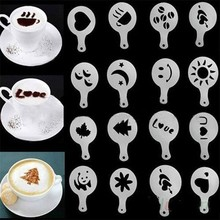 16PCS Plastic Cafe Foam Spray Template Barista Stencils Decoration Tool Garland Mold Fancy Coffee Printing Flower Model(China)