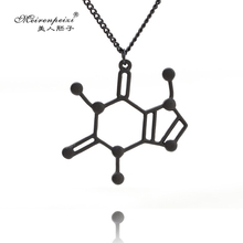 Structure Necklace Caffeine Molecule Pendant Necklace Elegant Chain Chemistry Women Men Jewelry Birthday Gift For Lovers(China)