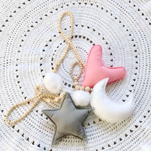 Nordic Stars Moon Hairball Beaded Hanging Decorations Kids Room Game Tent Bed Mantle Decorative Shopwindow Wall Hanging Ball(China)