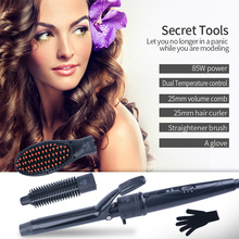 25mm Multifunctional Hair Curlers Professional 3D Wave Machine Straightener Brush Volume Comb Brush Styling Tools Curly Hair(China)